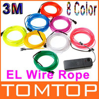 Wholesale 3M colors Neon Red Yellow Green White Blue Light Flexible EL Wire Rope Tube with Controller H8931