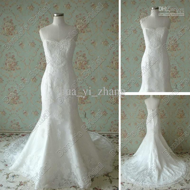 Vintage Lace Bridal Gowns Sweetheart Neckline Mermaid Fishtail ...