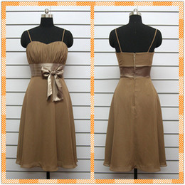Wholesale CUSTOM Made Cheap Brown Spaghetti Strap Chiffon Knee Length Bow Bridesmaid Dresses Prom Dress Gown