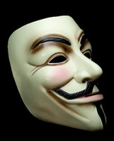 Wholesale Free ship Yellow White with pink blush V for vendetta mask Christmas Masks Halloween Mask