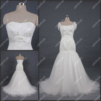 Wholesale 2014 Custom made Graceful Wedding Dresses Real Product Embellished Beaded Strapless Mermaid Court Train Appliqued Tulle Empress Bridal Gowns
