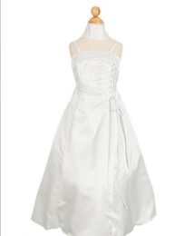 Wholesale 2012 flower girl dresses beach A line Spaghetti strap ankle length Bowknot Applique Hot fashion M114