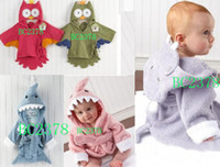 Wholesale Great Quality Cartoon Robes Owl Shark Hippo Three Designs Baby Bath Robes Baby Pajamas Five Color