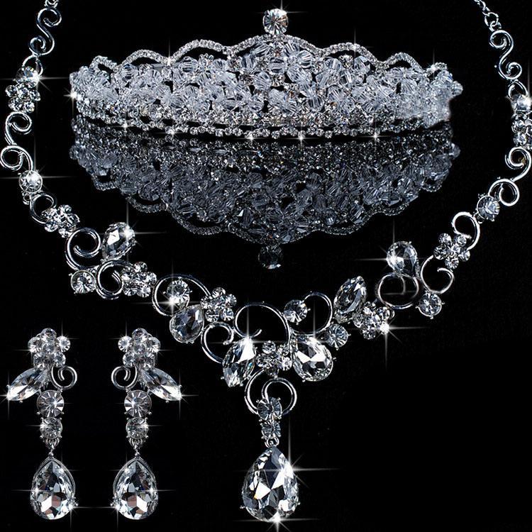 Luxurious 2016 wedding australia rhinestone necklace crown for Bridesmaid jewelry sets under 20