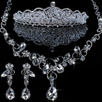 Wholesale Wedding Australia Rhinestone Necklace Crown Earring Bridal Jewelry Sets Piece H43