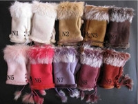 Wholesale Suede Fabric Mitten Women s Soft Leather Mitten Rabbit Fur Fingerless Gloves