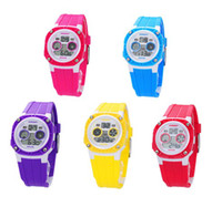Wholesale HOT NEW Waterproof Sports Digital Kids Children Watches Stopwatch Week Alarm EL Backlight Xmas Gifts