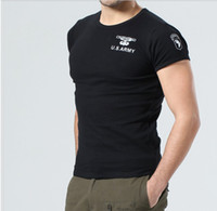 Wholesale Outdoor army fans Black is tight t shirts U S airborne division Man Short sleeve T shirt