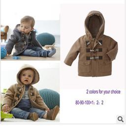 Wholesale children clothes winter boys cute handsome horn button hooded jacket coat dandys
