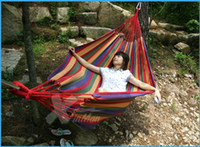 Nylon   Cheap new Double camping hammock swing outdoor upset canvas hammock indoor recreational crane qwased