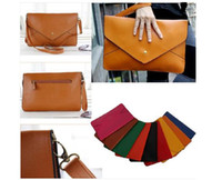 Red Women Plain New Women lady Clutch Envelope Handbag Purse Messenger HOBO Bag PU Leather