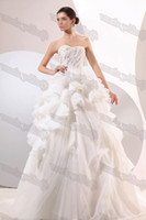 Actual Images Portrait Organza Real Model Phots High-class Strapless Dazzling Rhinestones Ruffles Ball Gown Wedding Dresses Corset