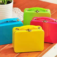 Wholesale Hot cute colorful Luggage shape high quality iron case storage case