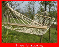Wholesale Portable New Hammock quot Cotton Double Wide Solid Wood Spreader Outdoor Patio Yard Hammock