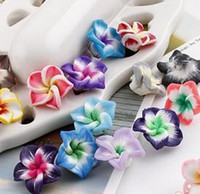 Wholesale Pc Colorful Polymer Clay Flowers Beads mm MIC