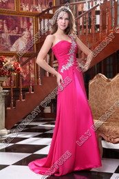 2015 Chiffon Bridesmaid Dresses One Shoulder Rose Evening Gowns Lace Appliques Court Train Real Actual Image Prom Dress DHYZ 02