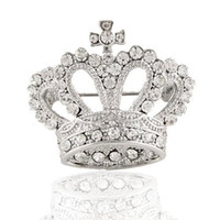 Wholesale New Fashion Shinning Clear Rhinestone Gold Silver Plated Crown Pin Brooch Jewelry
