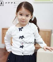 baby garment buttons - NEW hot coat children long sleeve bowknot button cardigan kids lace coat girls garment