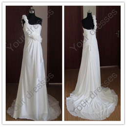 Wholesale 2012 Hot selling Bridal Wedding Dress A Line One shoulder Hand Made Flower White Chiffon Bridal Gown