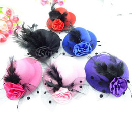 Wholesale 3 quot Women Feather Hair Clip Mini Top Hat Fascinator Cocktail Party Decor New Colors Mixed