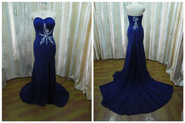 Wholesale Actual Image Blue Sweetheart Court Train Lace Side Slit Prom Dresses Evening Gowns