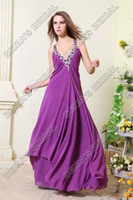 Wholesale Sexy V neck Formal Evening Party Dresses Violet Sheath Black and White Real Actual Images M17