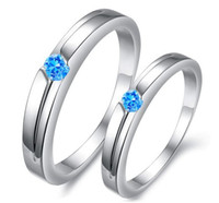 Wholesale Fashion Jewelry Exquisite Blue Diamond Platinum Plated Couple Rings