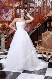Wholesale New Fashion Strapless Sweetheart Beaded Flowers Custom Made A line Wedding Dresses DHgate0009