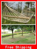 Wholesale Novelty Cotton Double Wide Solid Wood Spreader Hammock For Camping Yard Sleeping Lounge Hanging