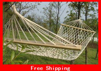 Wholesale New quot Cotton Double Wide Solid Wood Spreader Outdoor Patio Yard Hammock For Camping Yard Sleeping