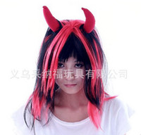 Wholesale 5pcs Halloween wigs Bar Masquerade show supplies horns long straight hair