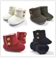 Niñas de arranque blanco Baratos-Niño recién nacido Botas de nieve Niños recién nacidos Niñas Botas de zapatos de pie Bota de crochet de lana negra blanca