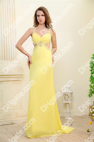 Actual Images prom dresses 2012 - New Evening Dress Cheap Halter Beaded Crystals Backless Chiffon Prom Dresses DHgate0012