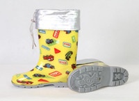 Wholesale Fashion Kids Rainboots Yellow Car Shoes With Fur Toddler s boot Snow Boot Rubber Shoe Chil Footwear