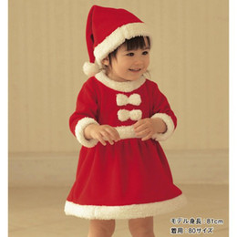 Christmas Children's clothing baby girls dress suit red thick winter dresses + red hats 2pcs sets