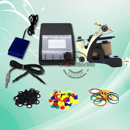 Wholesale New Dual Tattoo Machine Gun Wraps Coils Power Supplies Set Equipment Kit WS K101 LO Glitter Kit