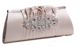Wholesale High Quality Bridal Evening Prom Hand Bags Black Purple Rose Red White Silver Champagne Graceful