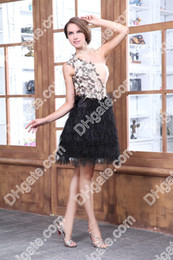Wholesale 2012 New Arrival One Shoulder Back Short Cocktail Dresses Gown with feathers Homcoming Dresses