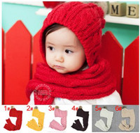 Wholesale 2016 new lovely Unisex Children s kid baby knitting wool hat cap and scarf two piece set suit edison168