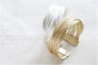 Wholesale Popular alloy weaving female money hemp rattan wide bracelet
