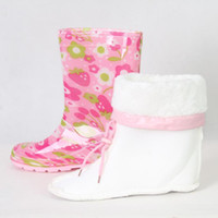 Snow Boots kids rain boots - 2012 New Promotion Baby Boots Girl Pink wintersweet Designer kids waterproof boot Rubber Rain Shoes