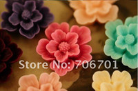 Wholesale 27mm Colors Flatback Resin Flower Beads For Jewelry Mobile iPhone Decoration Resin Pendants Cameo