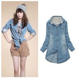 Wholesale Spring and Autumn Women washed cotton long sleeved denim shirt cat eye buckle leisure in Long Shirt