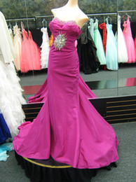 Wholesale Simple Mermaid style Sweetheart Satin Fold Beaded Sweep Brush Celebrity Dresses