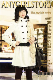 Wholesale J376 Lady Double Breast Cream Coat