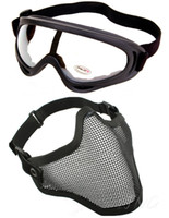 Wholesale Protection Steel Face Mask with X400 Clear Lens Goggles Airsoft Paintball Set