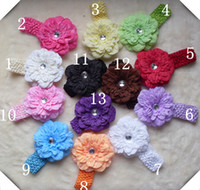 Wholesale Mixed sets Peony Flowers Baby Girl Hair Clip Crochet Headbands Children s Hair Accessories