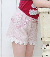 Baby girl kids amber bear lace pants lace shorts rosette flo...