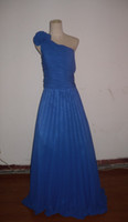 Wholesale Crushed Chiffon Dresses - Royal blue crushed chiffon one-shoulder with flowers waist with sash floor-length bridesmaid dresses