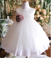 Wholesale 2014 Cheap Real Picture Jewel Sleeveless A Line Lace Little Kids Flower Girl Dresses
